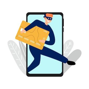 Ladro disegnato a mano di denaro con carte di credito tramite il concetto di banca mobile del telefono