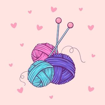 Tre gomitoli di filato e aghi disegnati a mano in stile scarabocchio su sfondo rosa con cuori