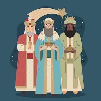 Tre uomini saggi disegnati a mano