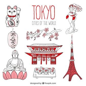 Disegnata a mano di tokyo pacchetto