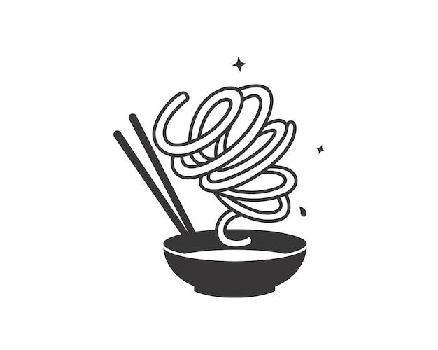 Noodles tornado disegnati a mano con ciotola