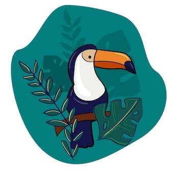 Tucano disegnato a mano stampa e foglie esotiche illustrazione di uccelli tropicali