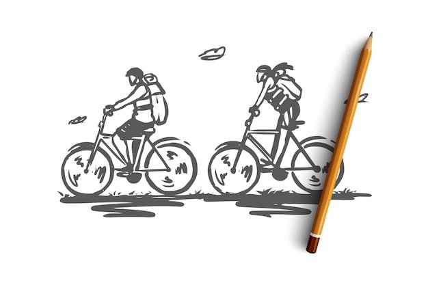 Turisti disegnati a mano sullo schizzo di concetto di biciclette