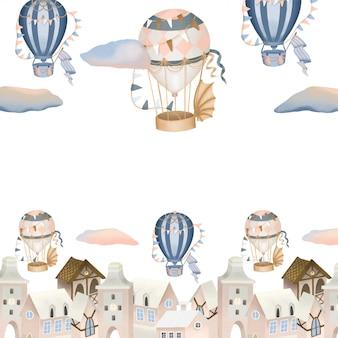 Città disegnata a mano e illustrazione di mongolfiere retrò