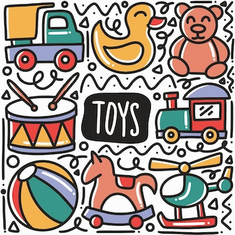 Giocattoli disegnati a mano kid doodle arte elemento di design illustrazione