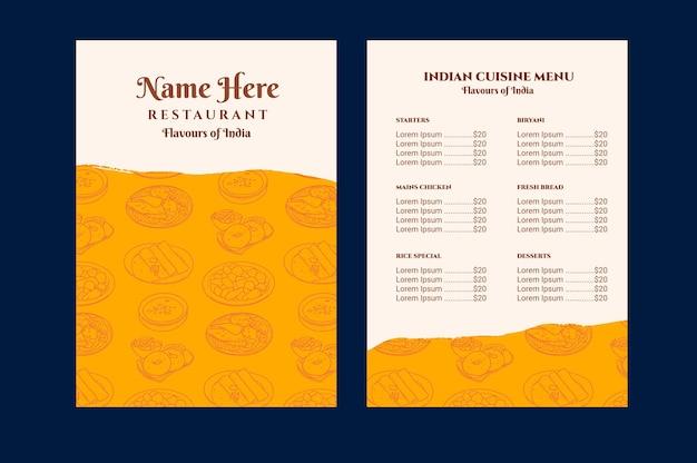 Modello di menu del ristorante indiano tradizionale disegnato a mano