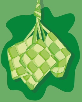 Ketupat tradizionale disegnato a mano. piatto speciale servito alla celebrazione di eid mubarak o ied fitr in indonesia.