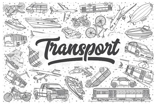 Insieme di doodle di trasporto disegnato a mano. lettering - trasporti