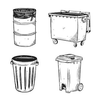 Schizzo disegnato a mano della raccolta del cestino della spazzatura