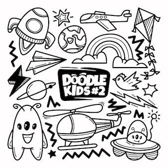 Insieme di doodle di viaggio disegnato a mano