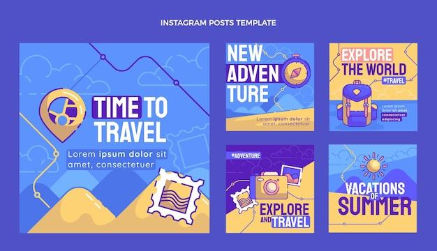 Collezione di post di instagram di viaggio disegnati a mano