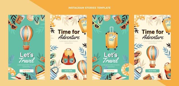 Storie di instagram di viaggio disegnate a mano