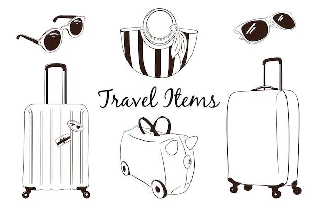 Collezione di bagagli da viaggio disegnati a mano. valigie, valigia bambino, borsa donna rigata, occhiali da sole. attributi del turismo vettoriale impostati per logo, adesivi, stampe, design di etichette. vettore premium