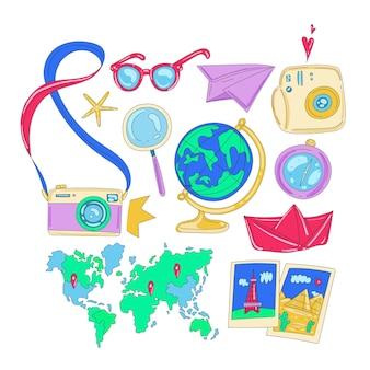 Insieme di elementi di viaggio e turismo disegnati a mano