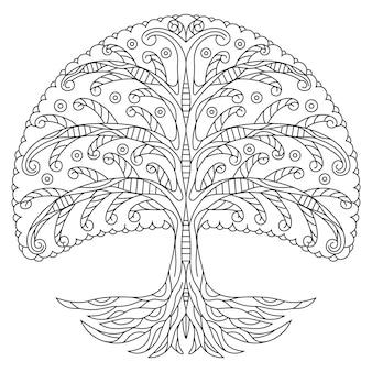Disegnato a mano di albero in stile zentangle