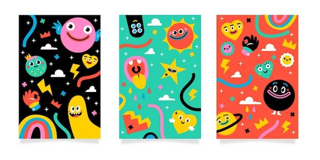 Collezione di copertine di cartoni animati alla moda disegnati a mano