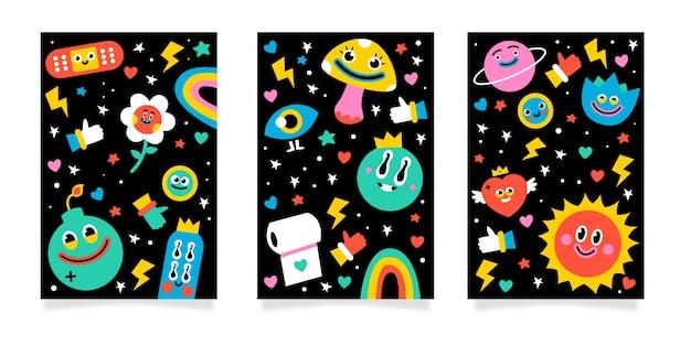 Set di copertine di cartoni animati alla moda disegnati a mano