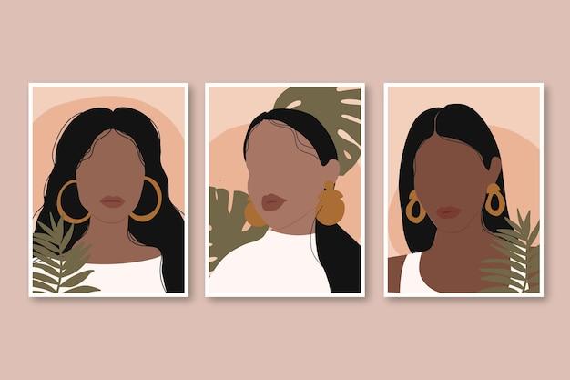 Collezione di copertine di ritratti di moda alla moda disegnati a mano