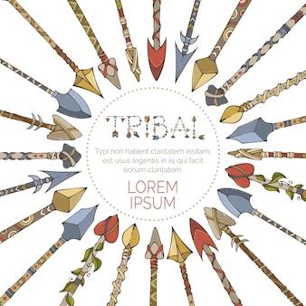 Frecce tribali disegnate a mano disposte in cerchio.