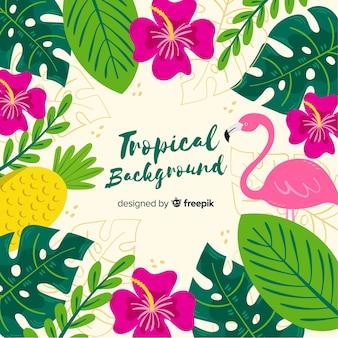 Sfondo tropicale disegnato a mano Vettore Premium