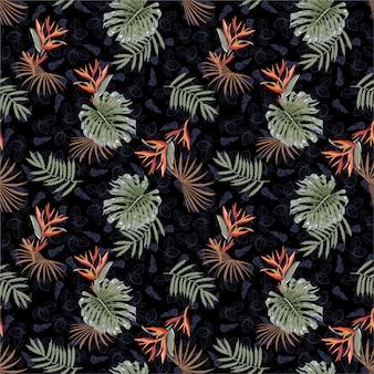 Modello senza cuciture floreale tropicale disegnato a mano