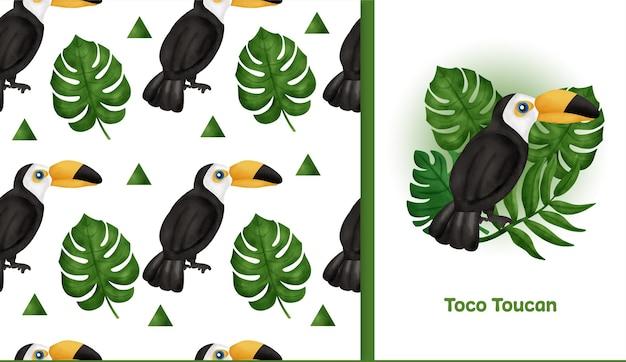 Tropicale disegnato a mano con il reticolo senza giunte di toco toucan