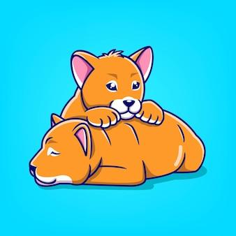 Illustrazione disegnata a mano di vettore del fumetto dell'icona del leone del bambino due