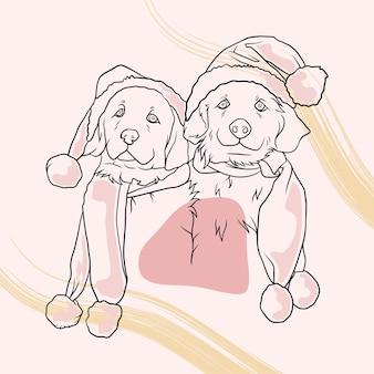 Disegnati a mano due simpatici cani che indossano cappelli e sciarpa natalizi in stile art line