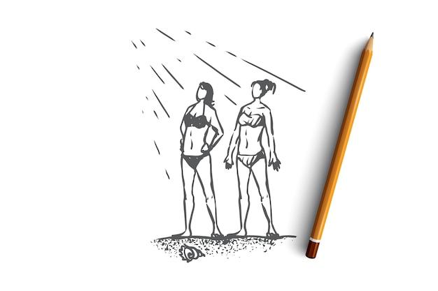 Due giovani ragazze disegnate a mano prendono il sole sullo schizzo del concetto di spiaggia