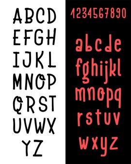 Set di caratteri tipografici disegnati a mano isolato su bianco