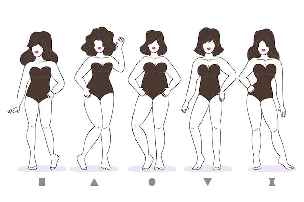 Tipi di raccolta di forme del corpo femminile disegnati a mano