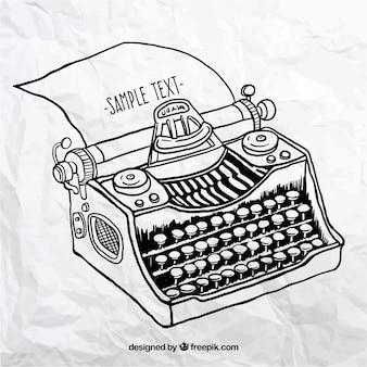 Mano macchina da scrivere disegnato