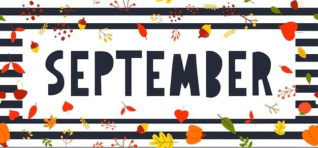 Frase scritta di tipografia disegnata a mano ciao, settembre isolato su sfondo bianco con corona d'oro. divertente iscrizione calligrafica con inchiostro a pennello per biglietti di auguri e inviti o design di stampa