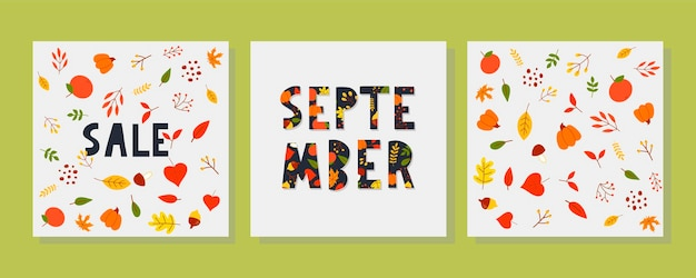 Frase di lettering tipografia disegnata a mano ciao settembre isolato su sfondo bianco con oro ...