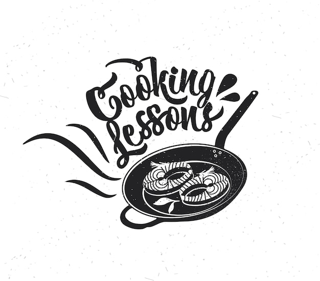 Manifesto di tipografia disegnato a mano. tipografia vettoriale di ispirazione. lezioni di cucina. calligrafia vettoriale