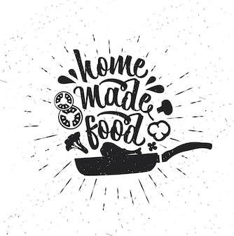 Manifesto di tipografia disegnato a mano. tipografia vettoriale di ispirazione. cibo fatto in casa. . calligrafia vettoriale
