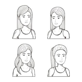 Le ragazze non colorate disegnate a mano con differenti acconciature hanno messo sopra fondo bianco. illustrazione vettoriale
