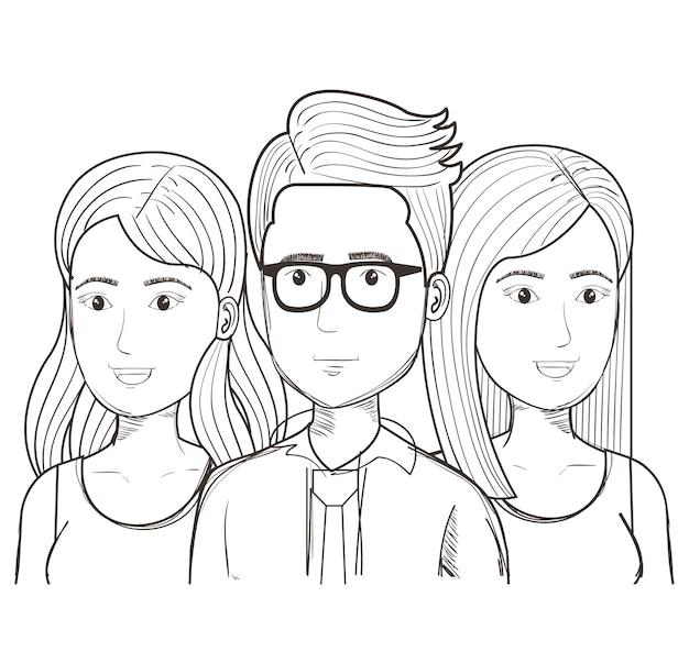 Disegnato a mano uomo incolore con occhiali e donne su sfondo bianco. illustrazione vettoriale