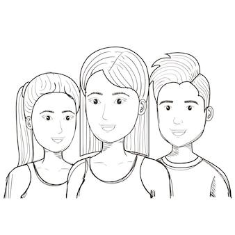 Uomo e donne incolori disegnati a mano sopra fondo bianco. illustrazione vettoriale
