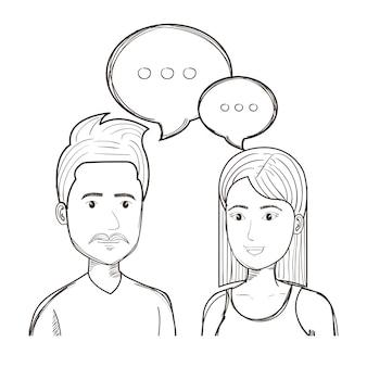 Gente di conversazione incolore disegnata a mano sopra fondo bianco. illustrazione vettoriale