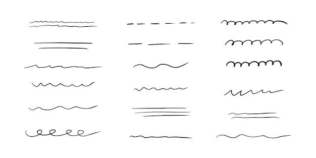 Sottolineatura disegnata a mano, enfasi, set di linee. tratti di pennello. sottolineatura di scarabocchi fatti a mano. illustrazione vettoriale su sfondo bianco in stile doodle.