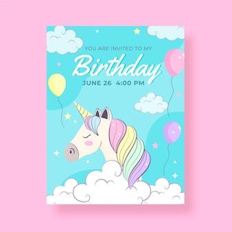 Invito di compleanno unicorno disegnato a mano