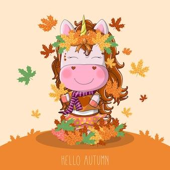 Unicorno disegnato a mano con autunno