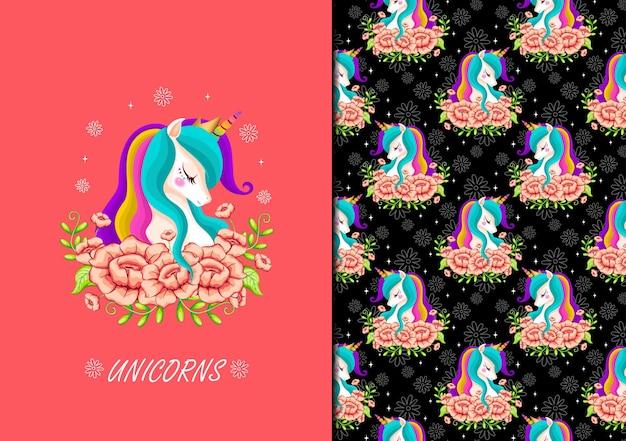 Unicorno disegnato a mano con motivo a fiori seamles