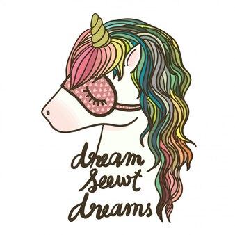 Unicorno disegnato a mano con scritte