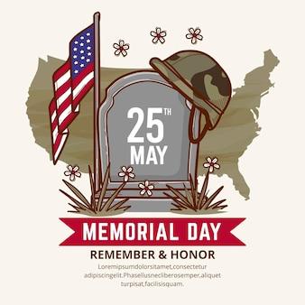 Illustrazione disegnata a mano del memorial day di usa