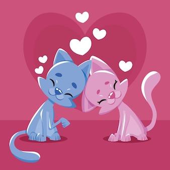 Coppia di gatti di san valentino disegnati a mano