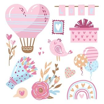 Pacchetto di elementi disegnati a mano di san valentino