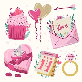Elementi di san valentino disegnati a mano