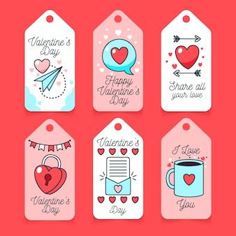 Etichette di san valentino disegnate a mano